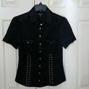Bebe eyelet lace up black dress shirt